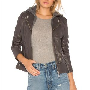 DOMA VINTAGE ZIP OUT HOOD LEATHER JACKET-C…
